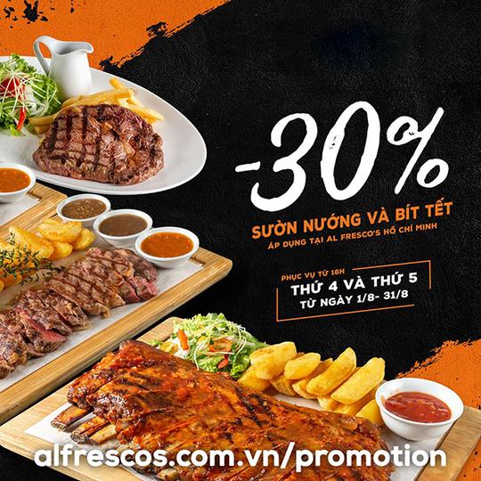 AlFresco giảm 30% thực đơn sườn nướng và bò nướng