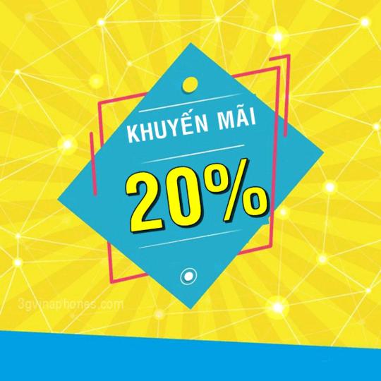 Vinaphone khuyến mãi 20% giá trị thẻ nạp ngày 07/08