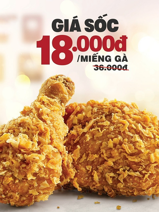 KFC khuyến mãi miếng gà chỉ 18K