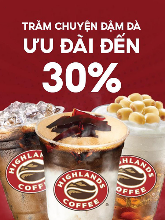 Highlands Coffee giảm đến 30% qua Food Delivery Now