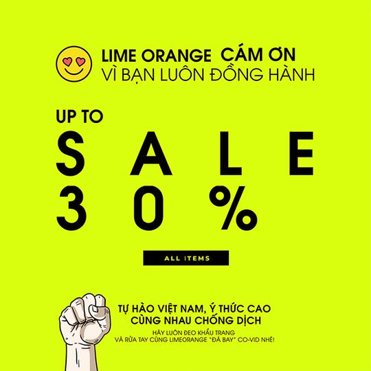 Lime Orange giảm đến 30% tất cả sản phẩm