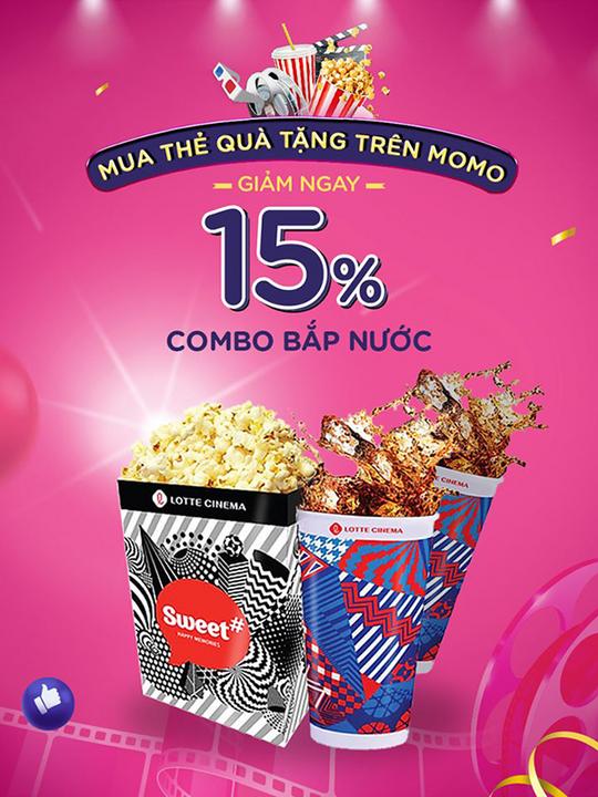 Lotte Cinema giảm 15% combo bắp + nước qua Momo