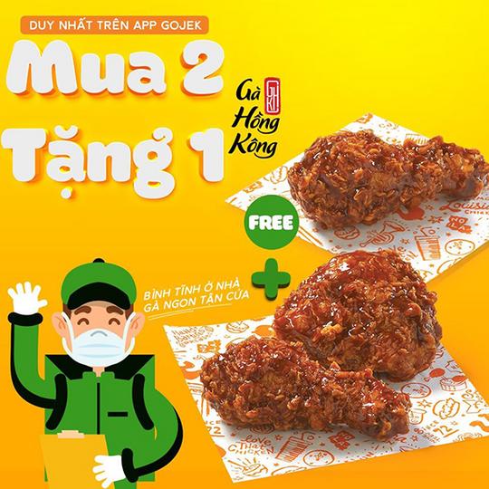 Popeyes mua 2 tặng 1 gà Hồng Kông qua Gojek