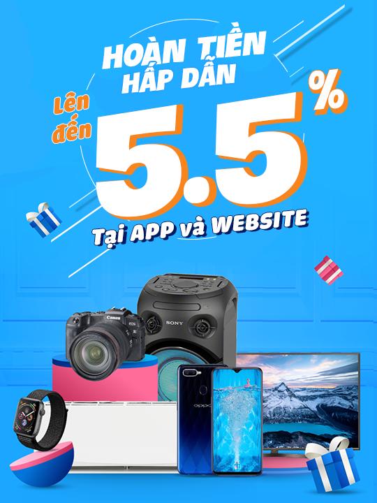 Tiki hoàn tiền lên đến 5.5% tại App và Website