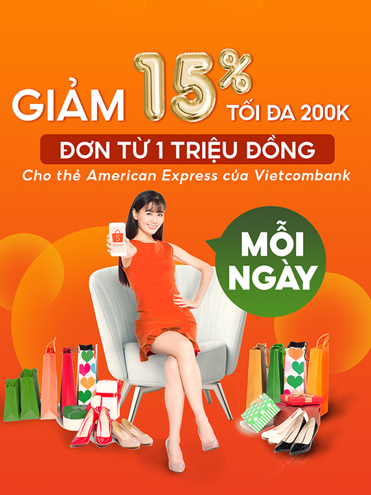 Shopee giảm 15% cho chủ thẻ Vietcombank