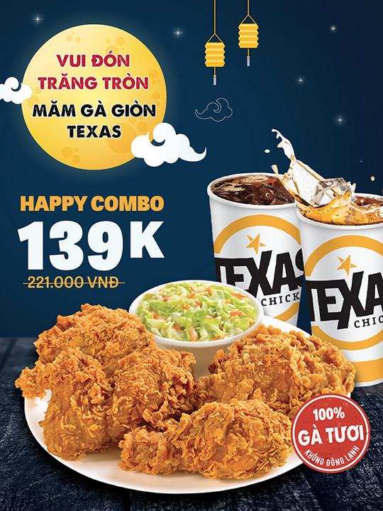 Texas Chicken khuyến mãi Happy Combo 2 người chỉ 139k