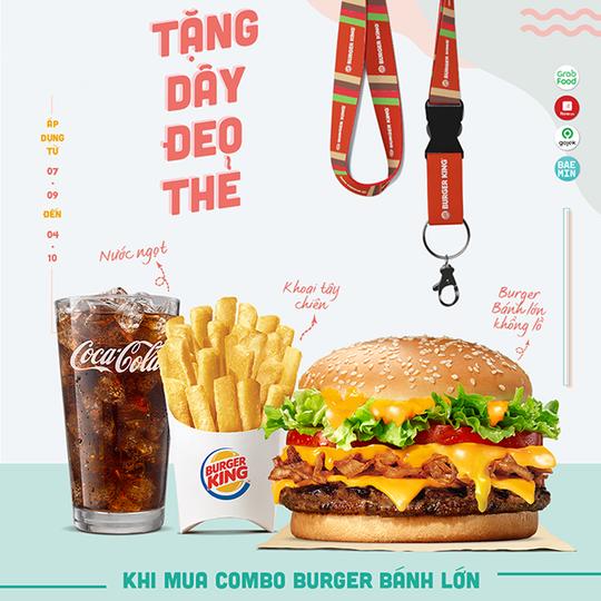 Burger King tặng dây đeo thẻ khi mua Combo