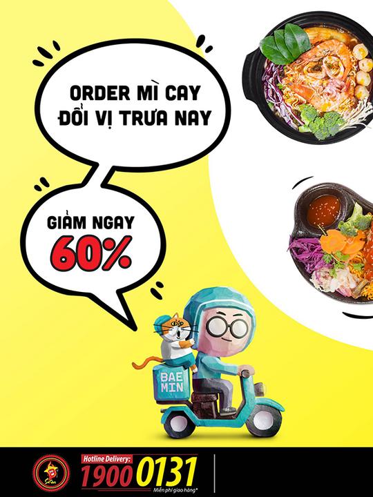 Mỳ Cay Sasin khuyến mãi 60% toàn menu qua BAEMIN