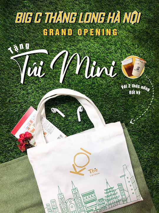 Koi Cafe tặng 1 mini bag khi mua 2 thức uống bất kì