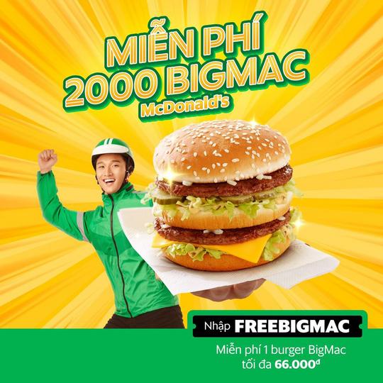 McDonald's tặng 2000 BigMac qua GrabFood