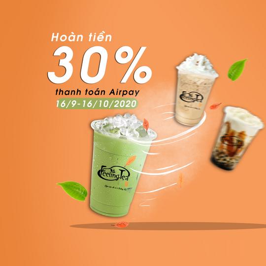 Feeling tea hoàn tiền 30% tối đa 30k qua Airpay