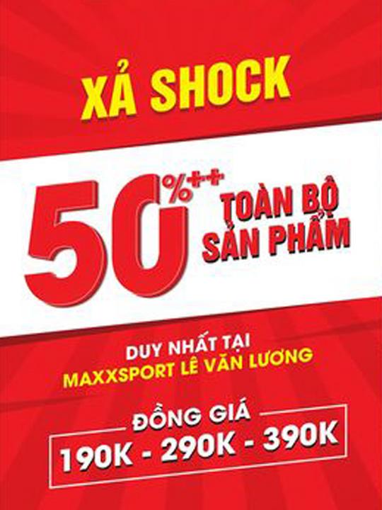 MaxxSport khuyến mãi 50% tất cả sản phẩm