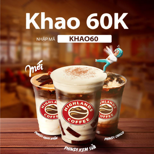 Highlands Coffee giảm 60K cho hoá đơn từ 130K