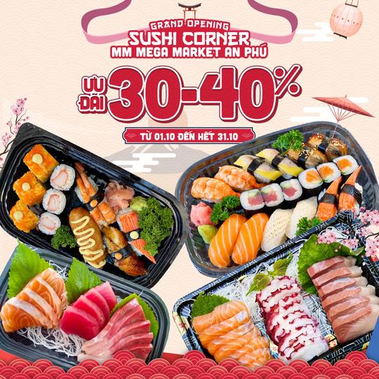 MM Mega Market khuyến mãi 30 - 40% tại quầy sushi