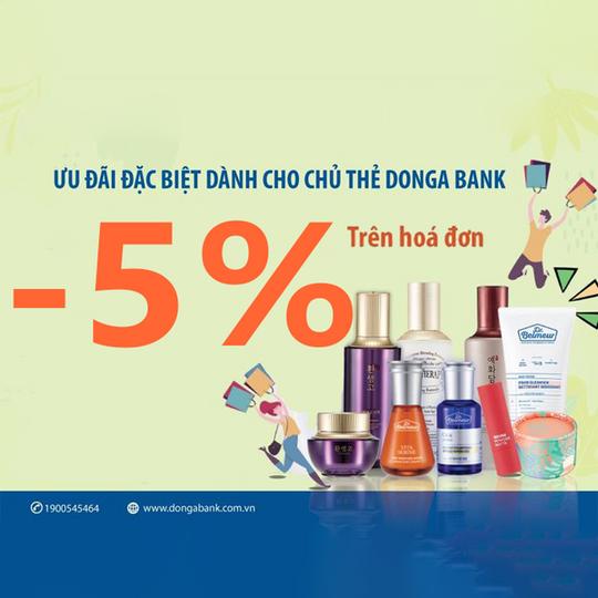 TheFace Shop giảm 5% chủ thẻ Đông Á bank