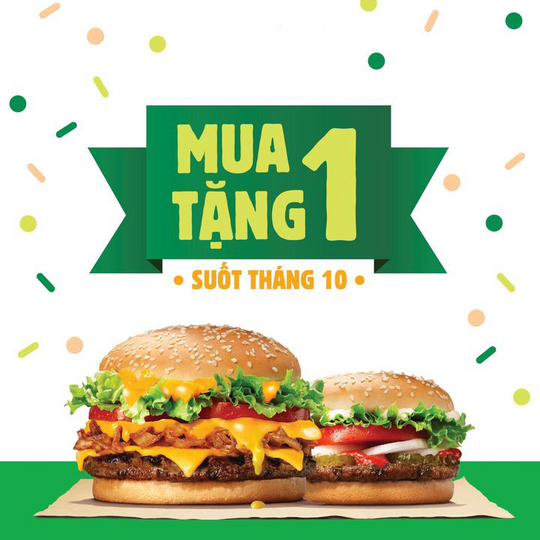 Burger King khuyến mãi mua 1 tặng 1 qua Gojek