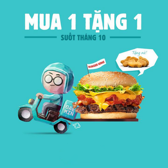 Burger King mua 1 tặng 1 qua Baemin