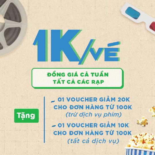 Mega GS Cinemas khuyến mãi vé phim chỉ 1k