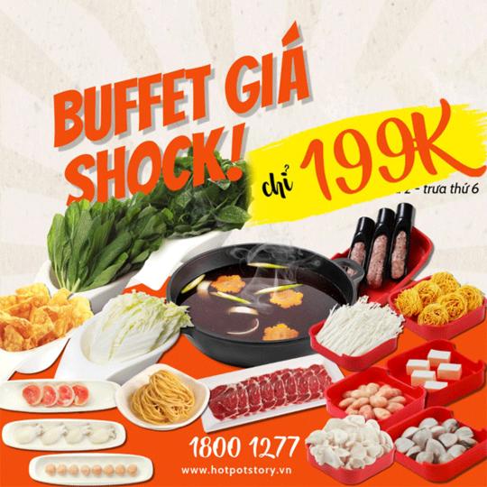 Hotpot Story khuyến mãi buffet giá chỉ từ 199k