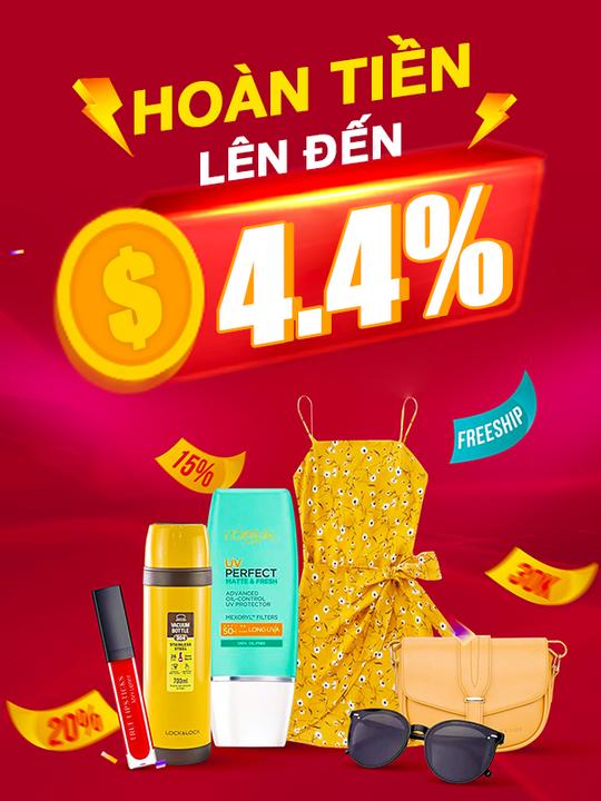 Sendo hoàn tiền lên đến 4.4% nhiều ngành hàng