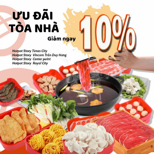 Hotpot Story khuyến mãi 10% trên tổng HĐ tại Hà Nội