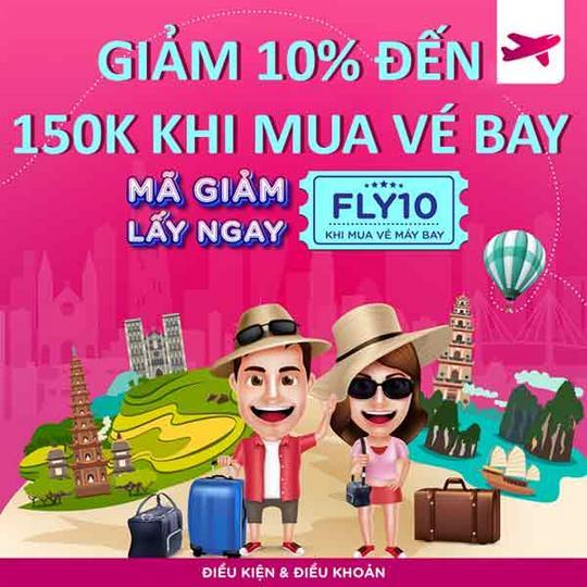 MoMo giảm 10% đến 150k khi mua vé bay