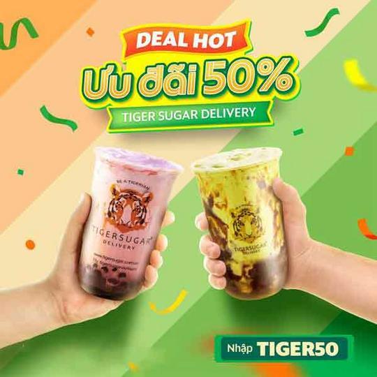 GrabFood khuyến mãi 50% toàn menu Tiger Sugar