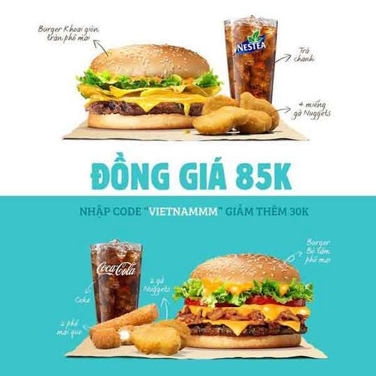 Burger King đồng giá 85K nhiều món