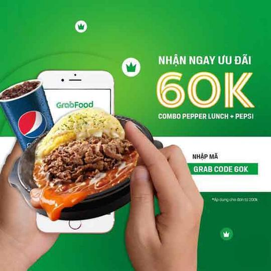 Pepper Lunch Vietnam giảm 60k khi đặt qua GrabFood