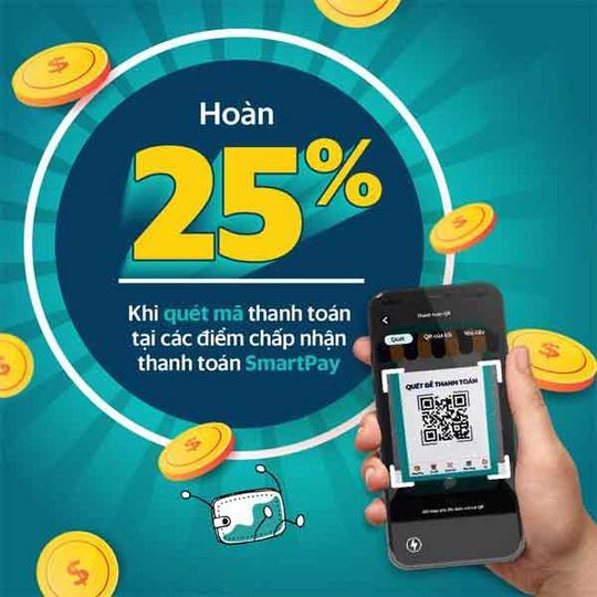 SmartPay hoàn tiền 25% các dịch vụ