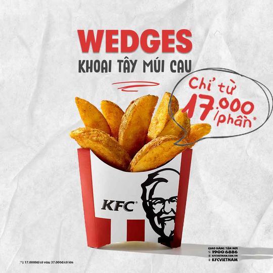 KFC khuyến mãi khoai tây múi cau từ 17k