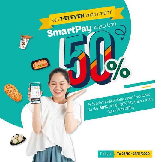 7-Eleven giảm 50% qua ví SmartPay