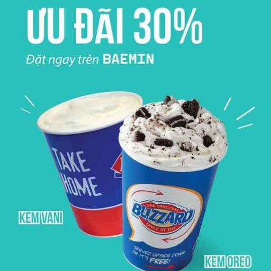 Dairy Queen giảm 30% khi đặt qua Baemin