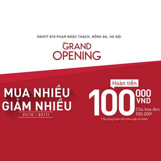 ONOFF hoàn tiền 100k với hóa đơn 500k