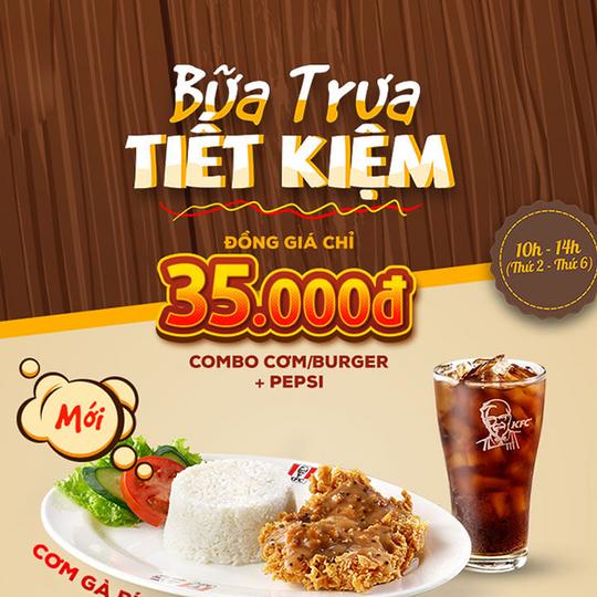 KFC ưu đãi bữa trưa tiết kiệm 35K