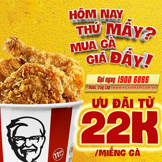 KFC khuyến mãi từ 22k/miếng gà