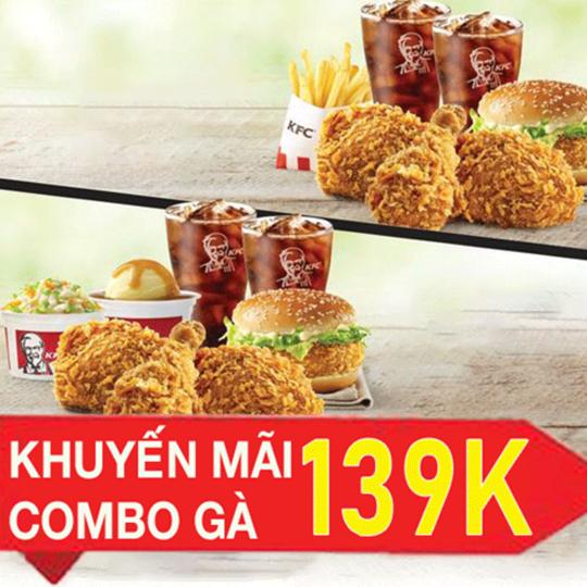 KFC combo gà rán 139K tại 5 tỉnh