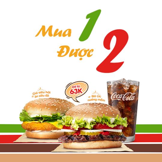 Burger King mua 1 tặng 1 vào thứ 5 hàng tuần