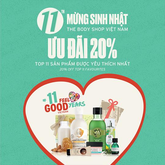 The Body Shop ưu đãi 20% top 11 sản phẩm được yêu thích