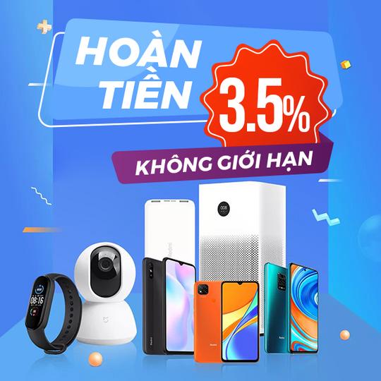 XiaoMi hoàn tiền đến 3.5% khi mua Xiaomi