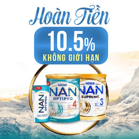 NAN hoàn 10.5% khi mua sp NAN tại Shopee