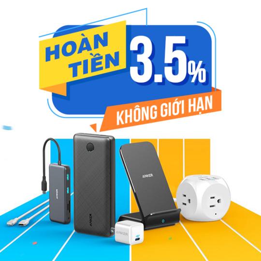 Anker hoàn 3.5% khi mua sp Anker tại Shopee