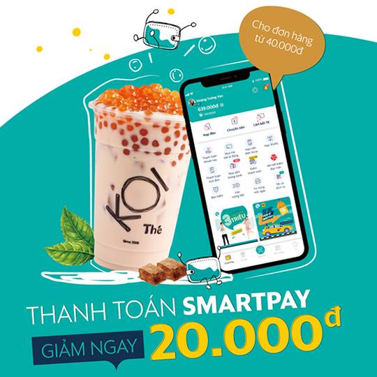 SmartPay khuyến mãi giảm 30k đồ uống Koi