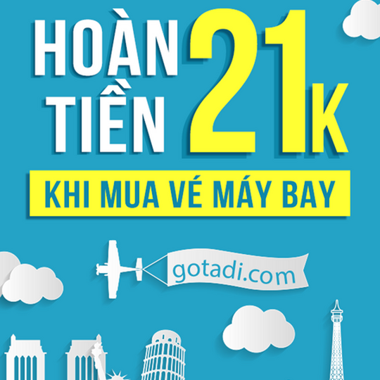 Gotadi hoàn tiền 21k/vé khi đặt vé máy bay