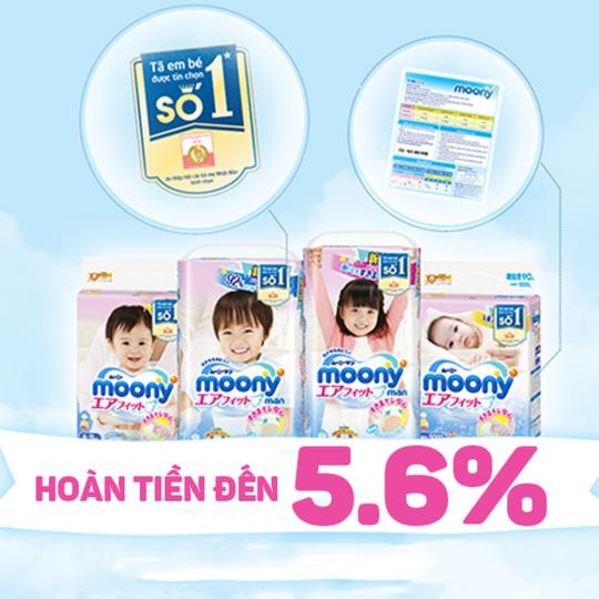 Moony Vietnam  hoàn tiền lên đến 5.6% khi mua SP Moony
