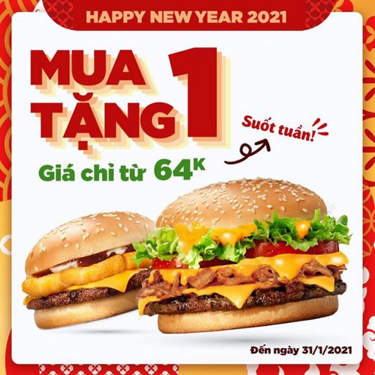 Burger King khuyến mãi mua 1 tặng 1 qua Grab