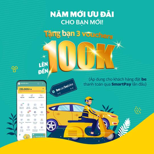 SmartPay tặng voucher Be đến 100k cho KH mới