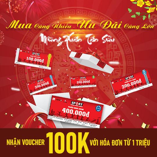 Siêu thị thể thao Sport 1 tặng Voucher 100k với HĐ từ 1 triệu