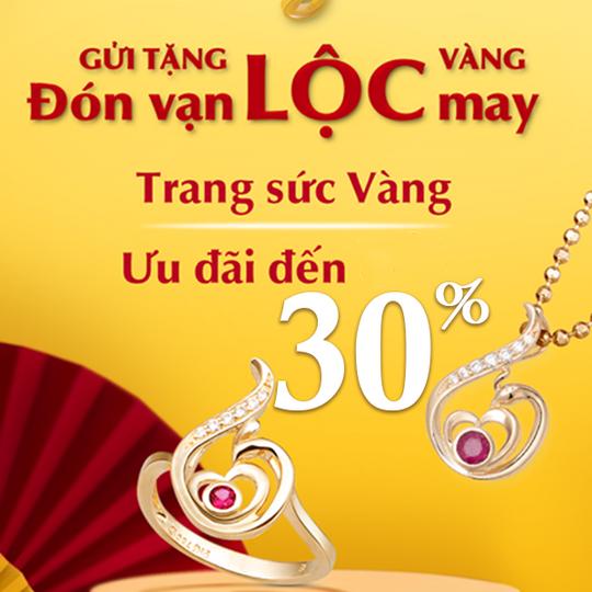 PNJ  khuyến mãi đến 30% trang sức vàng