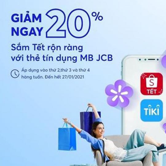 MBBank khuyến mãi 20% tại Tiki và Shopee